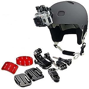 51cuhDl58fL. SS300 gopro frontale per casco + Kit laterale, include fibbia a gancio a J, clip rapida, 3m adesivi. Compatibile con Gopro Hero 8, 7, 6, 5, 4, 3, 2, session, Apeman, Crosstour, Victure, akaso, campark