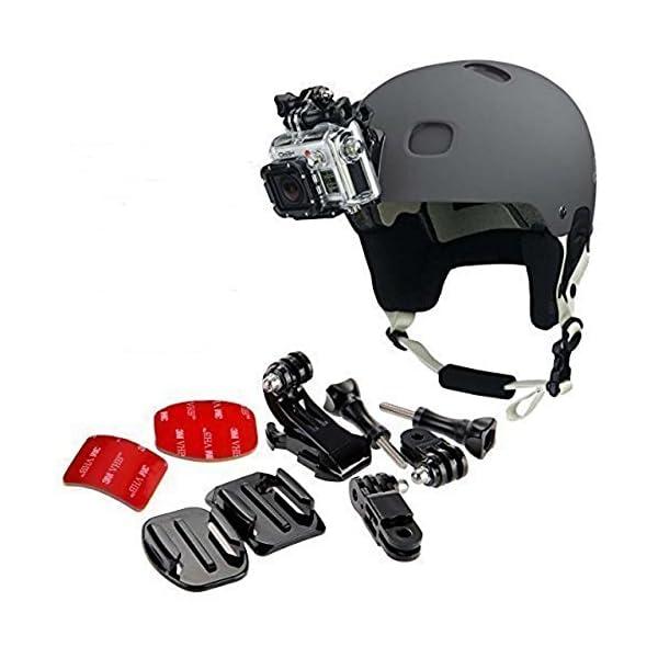 gopro frontale per casco + Kit laterale, include fibbia a gancio a J, clip rapida, 3m adesivi. Compatibile con Gopro Hero 8, 7, 6, 5, 4, 3, 2, session, Apeman, Crosstour, Victure, akaso, campark 1 spesavip