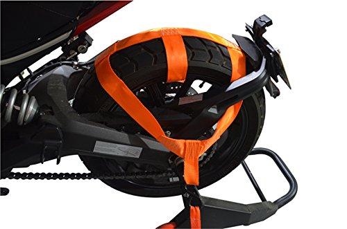 MOTO4U Universal Motorcycle Rear Wheel Tie down Strap in Orange