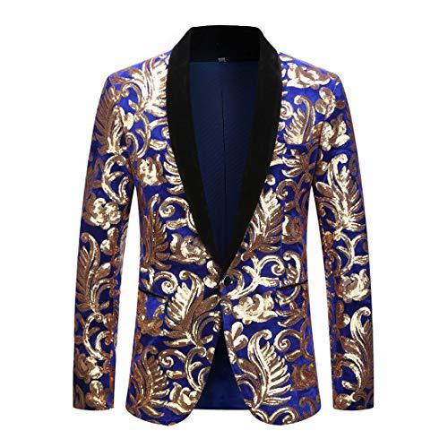 PYJTRL Mens Fashion Shawl Lapel Floral Sequins Blue Velvet Blazer Suit Jacket (Blue, L/US -