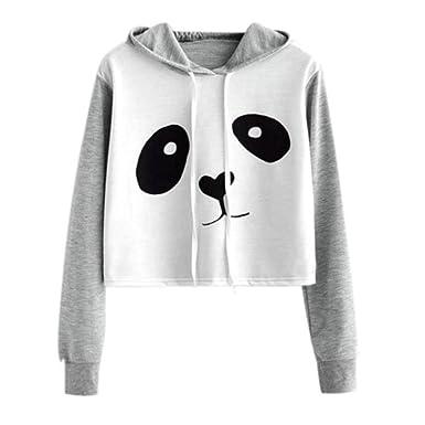 ASHOP Mujer Sudaderas, Deportivas Manga Larga Blusa Tops Corto Casual Sweatshirt Primavera y otoño Invierno Panda de Dibujos Animados Impresión Sudaderas: ...
