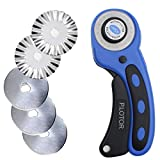 Rotary Cutter 45mm, P.LOTOR Comfort Handle Quilting Tools with 5 Replacement Pinking Rotary Blades