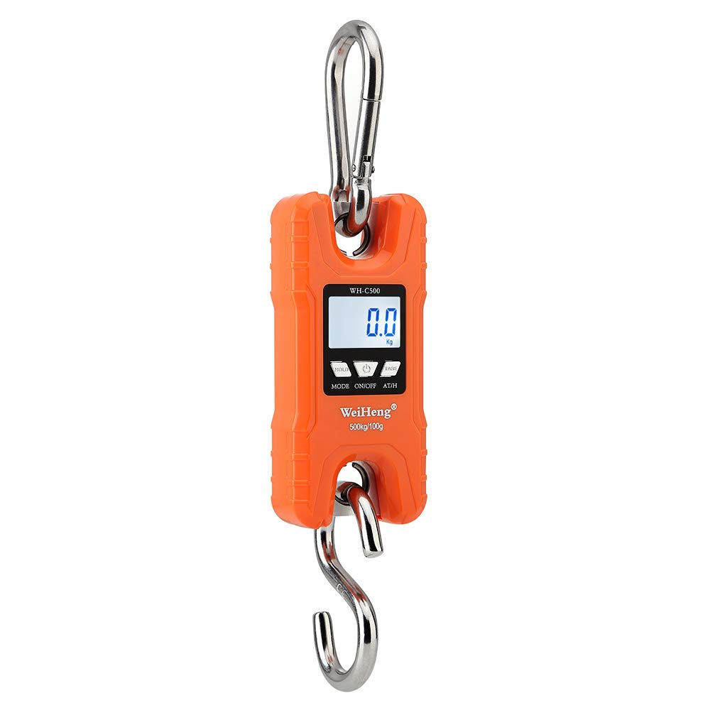 Walmeck- Portable Heavy Duty Digital Crane Scale 500kg/1102Lbs Multifunction Hanging Luggage Scale with Backlight LED Unit Kg/Lb for Travel Market Fishing and More - Orange