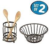 kitchen utensil holder basket - mDesign Kitchen Counter Accessory Set, Utensil Holder, Fruit Basket - Set of 2, Bronze