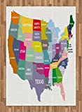 Map Area Rug by Ambesonne, USA Map with Name of States in Different Colors America Geography Cartography Theme, Flat Woven Accent Rug for Living Room Bedroom Dining Room, 5.2 x 7.5 FT, Multicolor