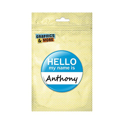 Anthony Hello My Name Is Pinback Button Pin Badge - 3 Inch - Hello Anthony