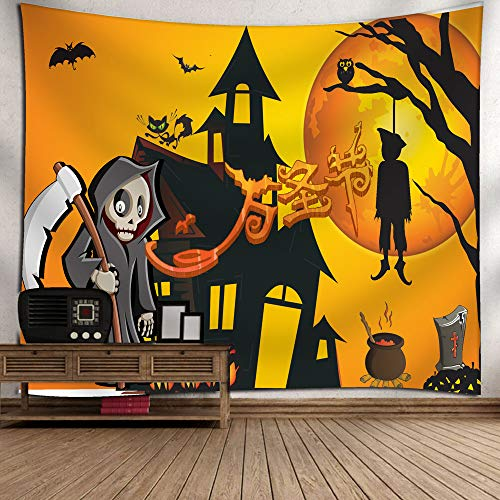 YOcheerful Halloween Moon Pumpkin Tapestry Room Bedspread Wall Art Hanging Home Decor (E,130cm x 150cm/51.18