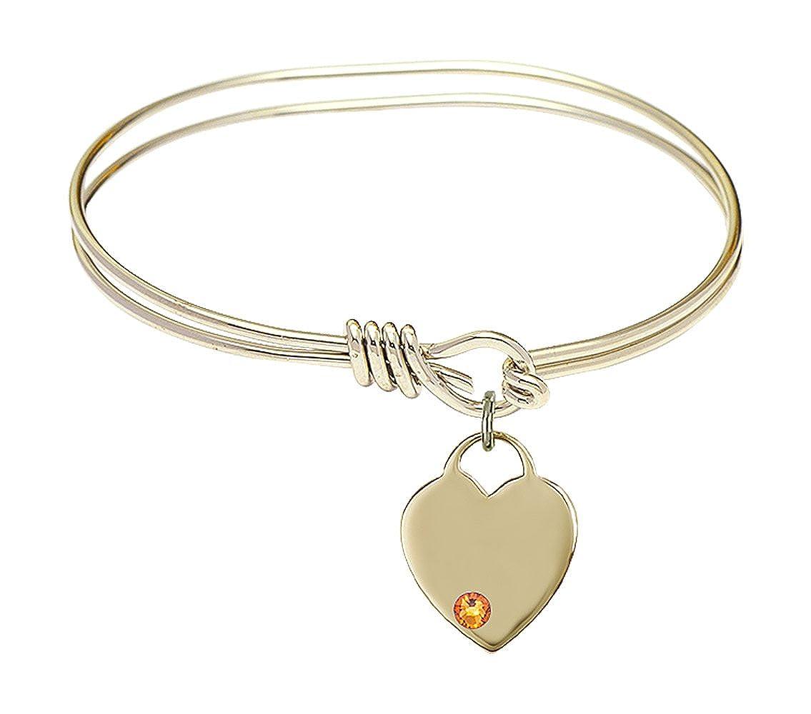 DiamondJewelryNY Eye Hook Bangle Bracelet with a Heart Charm.