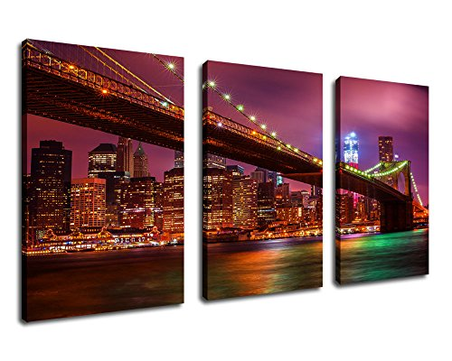 Canvas Wall Art Brooklyn Bridge Night View Painting Canvas Prints 60