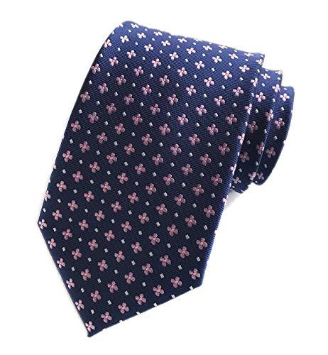 Blue Geometric Woven Silk Tie - Men's Navy Blue Pink Floral Wholesale Groomsman Silk Ties Wedding Casual Necktie