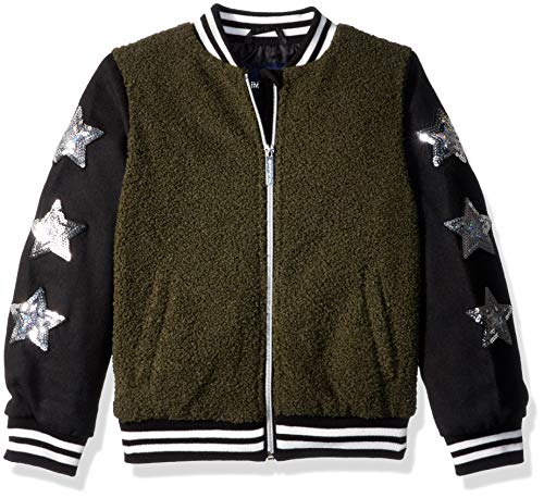 Limited Too Girls' Big Wool and Sherpa Bomber Jacket with Star Sequins, Olive, 10/12