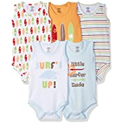 Luvable Friends Baby Infant 5-Pack Lightweight Sleeveless Bodysuits, Surfer, 0-3 Months