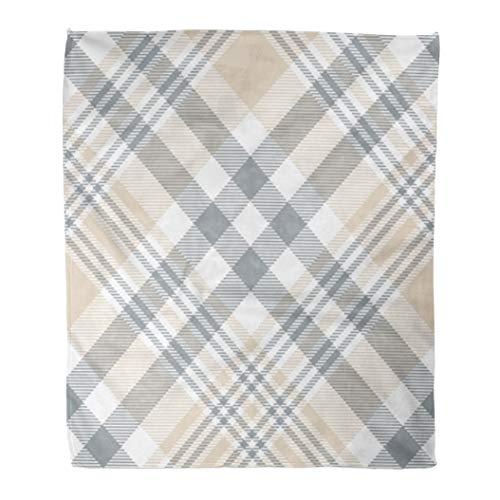 (Emvency Throw Blanket Warm Cozy Print Flannel Brown Tartan Plaid Check Pattern in Beige Tan Grey and White Gray Abstract Comfortable Soft for Bed Sofa and Couch 60x80 Inches)