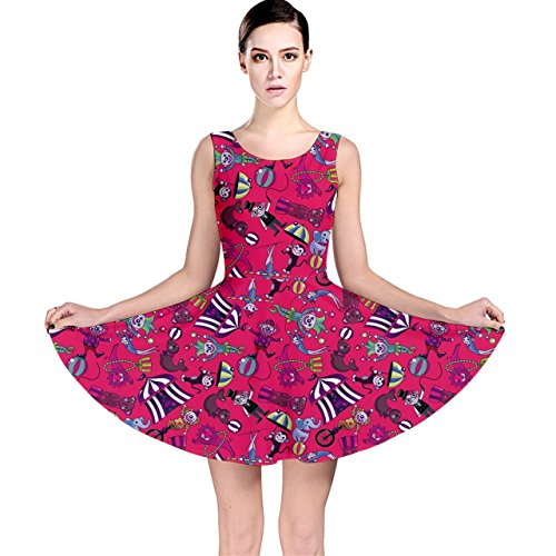 [CowCow Red Circus Pattern Stylish Design Skater Dress, Red-S] (Circus Dress)