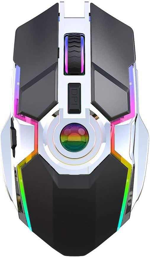 Gaming Ratón Inalámbrico Recargable con hasta 2400 dpi, con Luz LED para Respirar, Juego del Ratón Inalámbrico 2.4G RGB USB para Ordenador, Portátil, Mac, PC,Negro