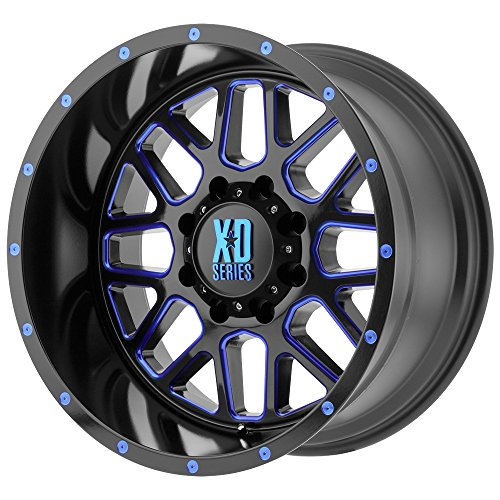 KMC XD XD820 Grenade Black Milled Blue 18x9 5x5 -12mm (XD82089050912NBC) (12mm Wheel Blue)