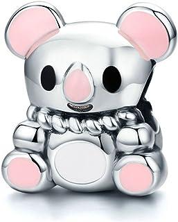 Pink koala Animal Collection 100% 925sterling Silver Australia cute koala Beads Fit charm braccialetto & collana argento gioielli SCC624 EyeCandy UK