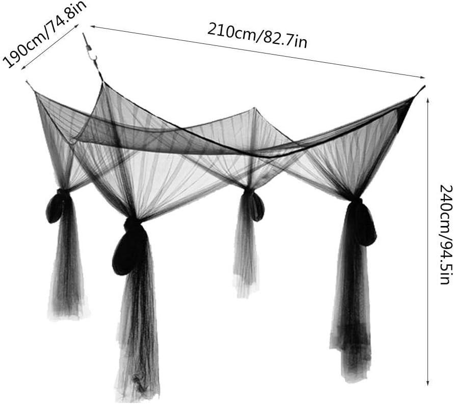 Blanc Wifehelper Moustiquaire 4 Lit dangle Canop/ée Moustiquaire Pleine Reine Literie King Size