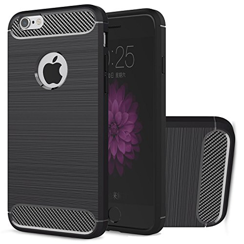 Hülle iPhone 6s Plus, HICASER Rugged Armor Case Ultraslim Flexible TPU Anti-rutsch Drop Resistance Handytasche Schutzhülle für iPhone 6 Plus / 6s Plus 5.5-Zoll Schwarz