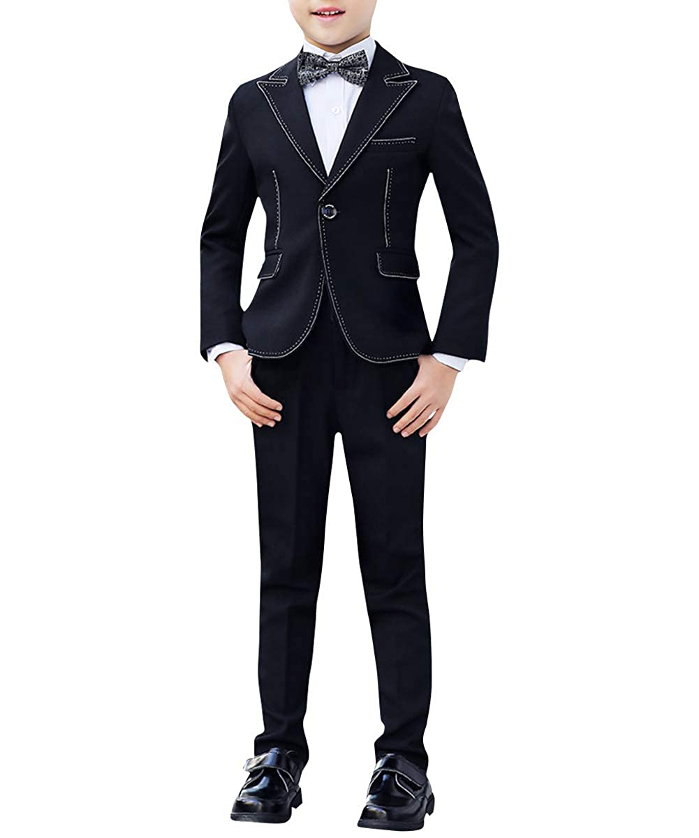Boyland Boys Slim Fit Suits Peak Lapel Blake 3 Pieces 4 Pieces Suit Set Casual Jacket Vest Pants Bowtie