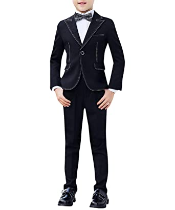 363171d628ce1f Amazon.com: Boyland Boys Slim Fit Suits Peak Lapel Blake 3 Pieces 4 Pieces  Suit Set Casual Jacket Vest Pants Bowtie: Clothing