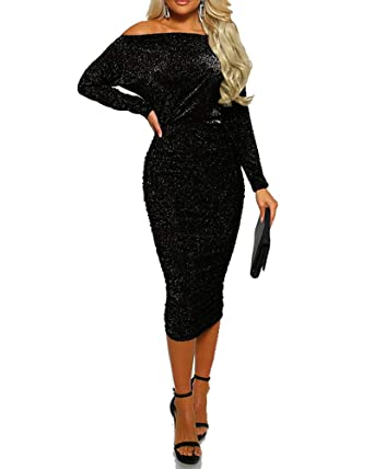 2a69af22 Adogirl Womens Sexy Sprakly Wrap Dress Off Shoulder Shiny Bodycon Midi Dress  Cocktail Black S