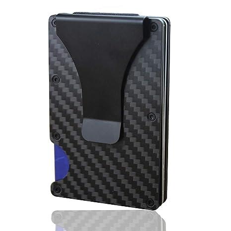 d745b445fa KOBWA Carbon Fiber mini uomo in pelle, slim portafoglio porta carte di  credito RFID Blocking