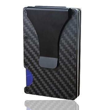 Mens Wallet Slim Carbon Fiber Credit Card Holder RFID Blocking Metal Money Clip
