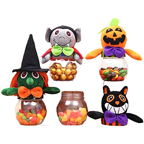MIUNIKO Holiday Halloween Transparent Plastic Candy Jar Sweets Cookies Storage Box Gifts Props, 4-Piece ()