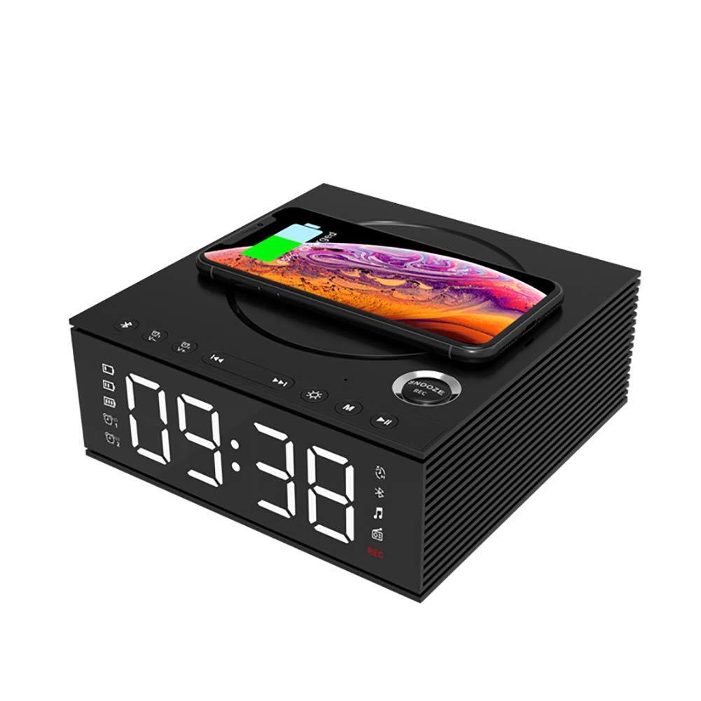 ワイヤレス充電LEDデュアル目覚まし時計ブルートゥースサウンド、FMラジオ、USB充電ポート、AUX入力、スヌーズ、4調光器、寝室用、キッチン、ホテル、デスク B07T2XZ7M1 Black
