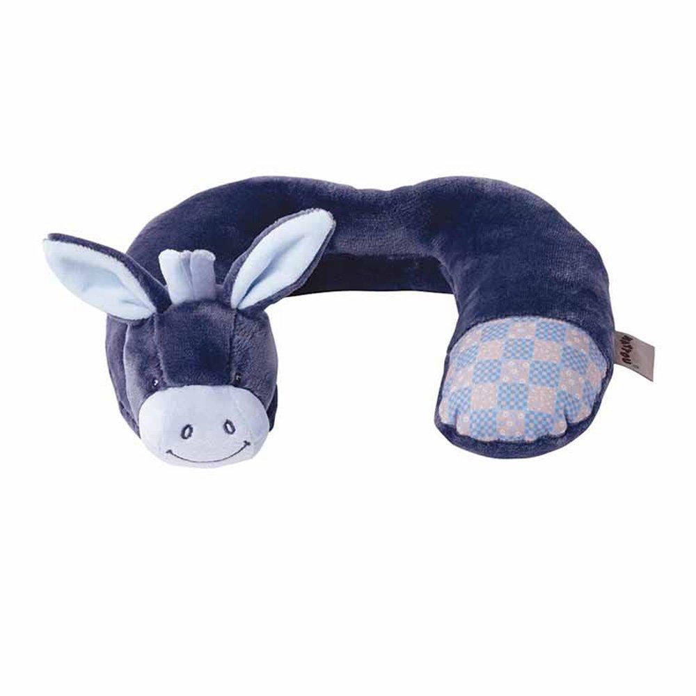 Nattou Nackenkissen Esel Alex 28 /× 24 /× 5 cm Alex und Bibou Blau F/ür Babys ab 3 Monaten