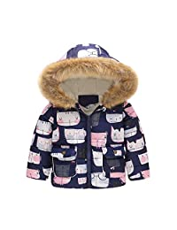 KONFA Teen Kids Baby Boys Girls Winter Warm Clothes,Fur Cotton Padded Cartoon Cat Hooded Jacket Thick Snowsuit Coat Set Red