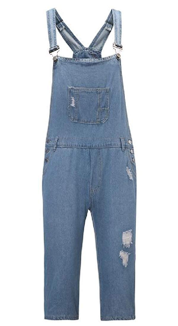 SHOWNO Mens Ripped Distressed Overalls Straight Leg Vintage Denim Shorts Jeans