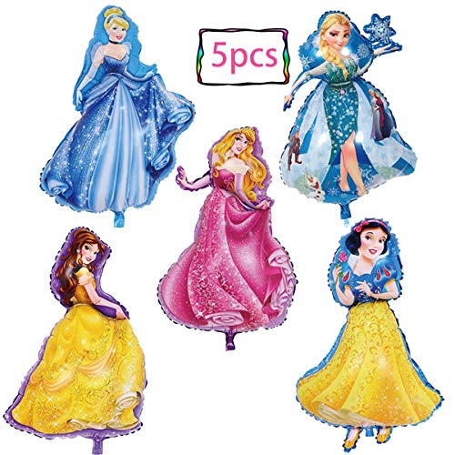 Disney Princess Birthday Balloons (5-pack Disney Princess birthday party foil balloon girls Favorite princess birthday party supplies party)