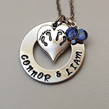 Twins necklace - mothers necklace - twin - new mom - new baby -in vitro