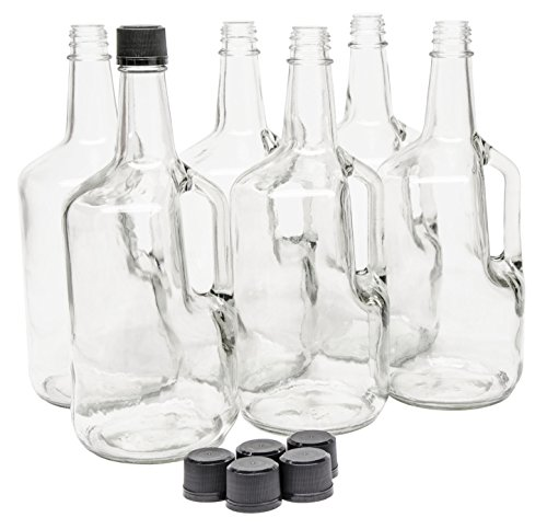 - North Mountain Supply 1.75 Liter Clear Glass Jug with Handle and Black Plastic Tamper Evident Lids - Case of 6