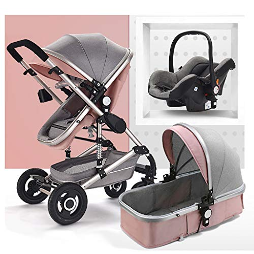 Luxury Baby Stroller 3 in 1 with Car Seat High Landscape Prams for Newborns Travel System Foldable Baby Carriage Trolley Walker (Color : Pink)