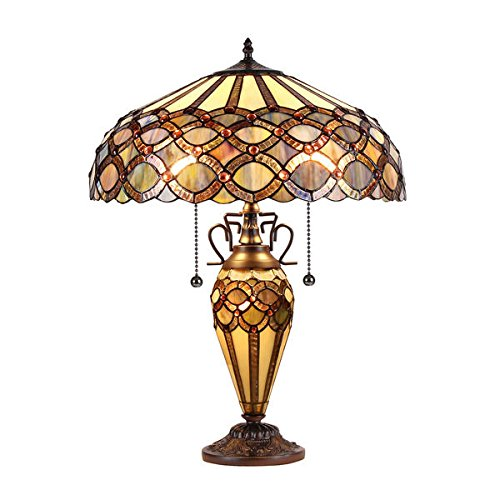 Chloe Tiffany Style Victorian Design 2 + 1-light Dark Bronze Table Lamp by Chloe Lighting