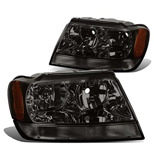 DNA MOTORING HL-OH-JGC99-SM-AM Headlight Assembly, Driver and Passenger Side, Smoke Housing Amber Reflector