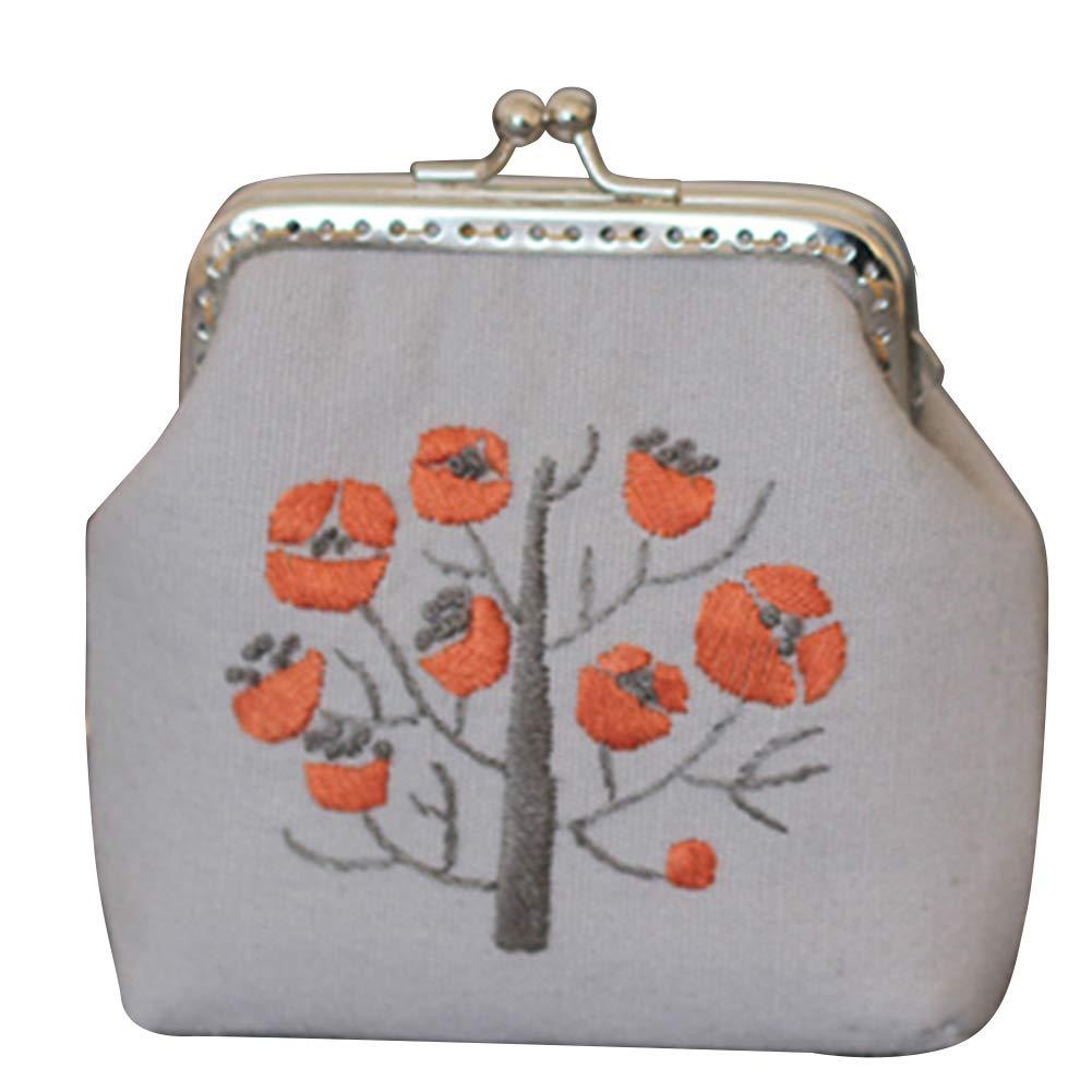 DIY bordado flor árbol monedero cartera costura punto de ...