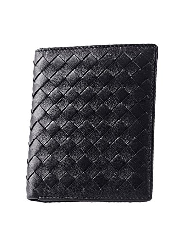 zando-unisex-fashion-solid-diamond-leather-multi-card-thin-bifold-wallet-handbag-black2
