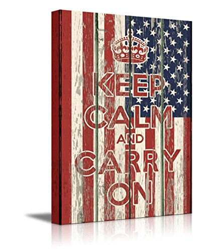 Keep Calm and Carry On Quote on Vintage Wood Board Style USA Flag