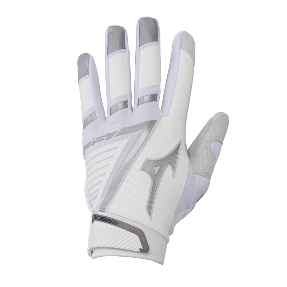 Mizuno F-257 Women's Softball Batting Glove, White-Silver, Large