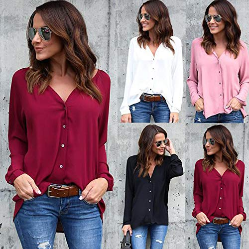 BaconiXfF de Womens Manches Chemisier Mousseline Fixation Peacock Button Solide dcontract Longues Courroie en Tops blue D BBrwXU
