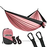 Bear Butt Lightweight Double Camping Parachute Hammock-Large, Portable Two-Person Hammock for Hiking & Backpacking - 16 Colors Available (Pink/Charcoal)