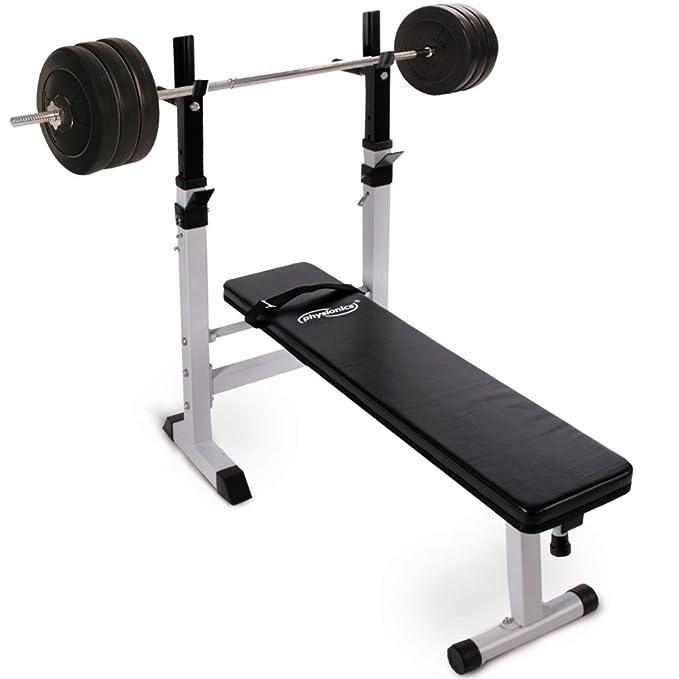 Physionics® - Set de musculación con banco de pesas, barra de ...