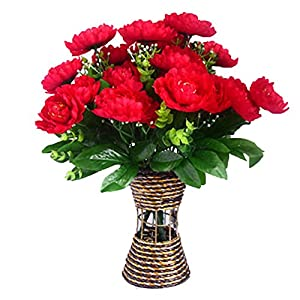 Lopkey Artificial Peony Silk Flowers Bouquet,Red 45