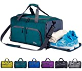 FANCYOUT Foldable Sports Gym Bag Shoes Compartment & Wet Pocket, Travel Duffel Bag Men Women