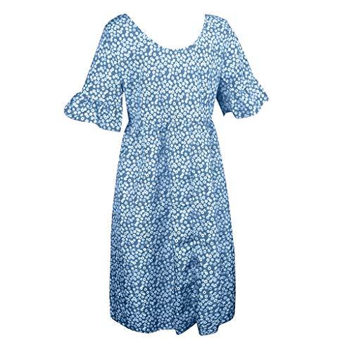 【MOHOLL】 Womens V Neck Ruffle Polka Dot Pocket Loose Swing Casual Short T-Shirt Dress