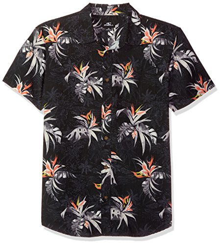 Shirt Hawaiian Street (O'Neill Men's Casual Standard Fit Short Sleeve Woven Button Down Shirt, Black/Islander, L)